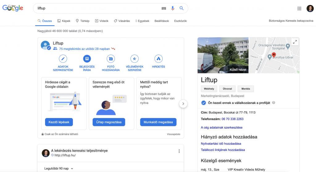 Google Cegem Bejegyzes